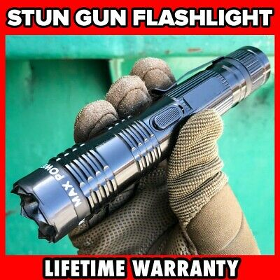 "6"" Military POLICE Tactical 300MV Stun Gun Rechargeable LED Flashlight Black NEW"