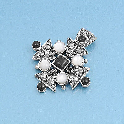Templiers Cross Marcasite Pendant with MOP Sterling Silver 925 Vintage Style