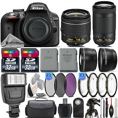 Nikon D3300 24.2MP Digital SLR Camera + 18-55mm VR + AF P 70-300mm VR - 64GB Kit