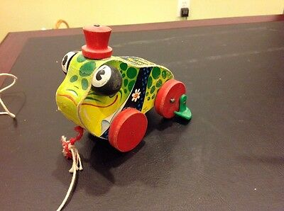 Fisher Price 1956 Vintage Grandpa Frog Pull Toy #464