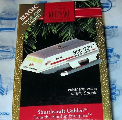 Star Trek Hallmark Christmas Ornament HEAR MR SPOCKS VOICE Shuttlecraft Galileo