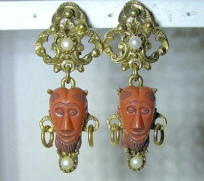 Signed Selro Corp Double Sided Tribal African Mask Coral Thermoset Earrings NOS