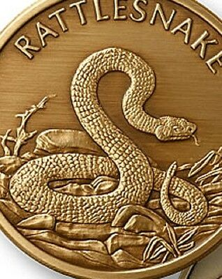 Rattlesnake coin antique Bronze Engravable snake Medallion