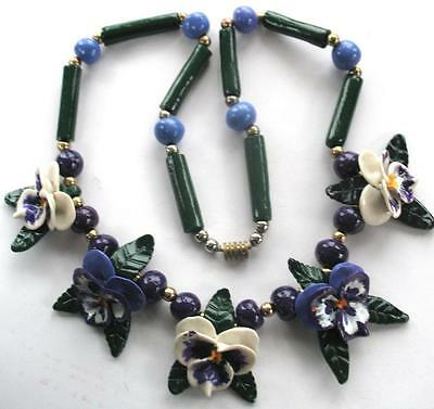 Outrageous Runway Vintage Handpainted 3D Resin Brass Large Pansy Flower Necklace