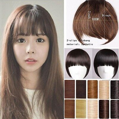 Natural Fake Neat Bangs Fringe Clip in Hair Extensions Extension Hairpiece U94