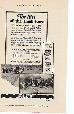 """1920's  Caterpillar Tractors """"The Rise Of The Small Town"""" Vintage Print Ad"""