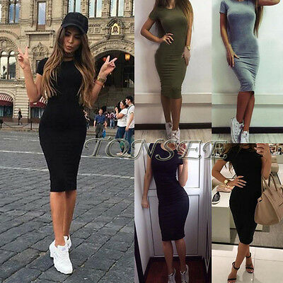 Women's Fashion Sexy Short Sleeve Party Evening Cocktail Short Mini Casual Dress