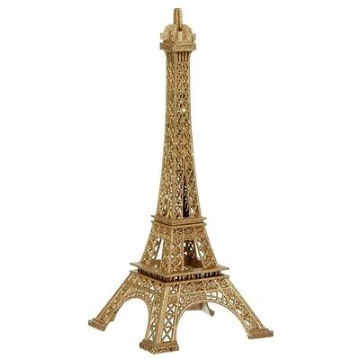 "Raz Eiffel Tower Christmas Ornament 7"" Gold Metal Glittered"