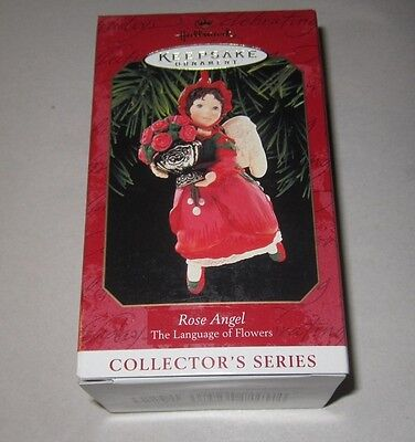 HALLMARK KEEPSAKE ORNAMENT ~ ROSE ANGEL ~ LANGUAGE of FLOWERS ~ 1999 *NEW