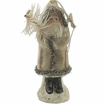 "5"" Belsnickle White Velvet Santa Claus Ornament Paper Mache Christmas Figure"