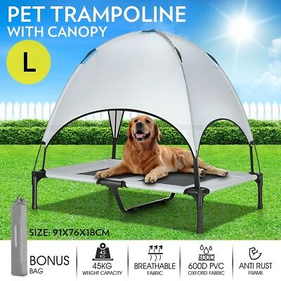 Large Pet Bed Trampoline w/ Canopy Dog Cat Heavy Duty Frame Hammock Puppy Cover