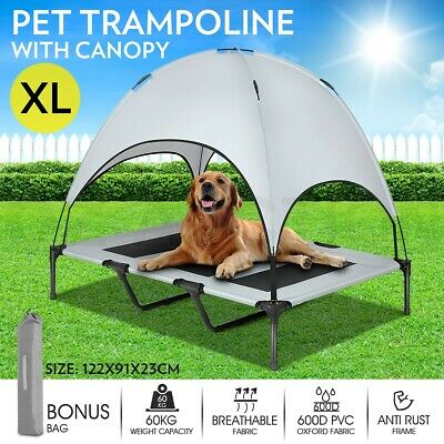 XL Pet Bed Trampoline Heavy Duty Frame Dog Cat Hammock w/ Canopy Puppy Cover