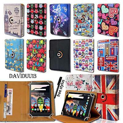 """Leather 360° Rotating Stand Cover Case For Various 7.0"""" 8"""" 10.1"""" Lenovo Tablet"""