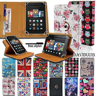 """360 Rotating Stand Leather Cover Case For Amazon Kindle Fire HD 7"""" 8"""" 8.9"""" 10"""""""