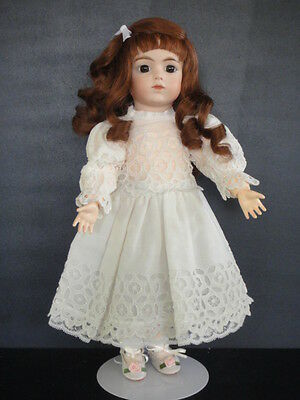 "Antique French Bisque BRU Reproduction doll. 14"". Brown eyes- Made in France"