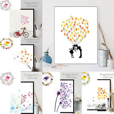 Personalise Tree Fingerprint Ink Guest Book Wedding Gift Decoration Party Supply