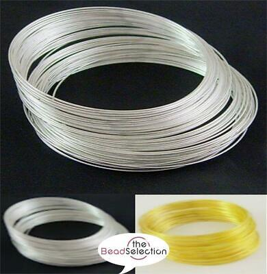60 COILS 55mm x 0.6mm BRACELET MEMORY WIRE SILVER OR GOLD PLATED