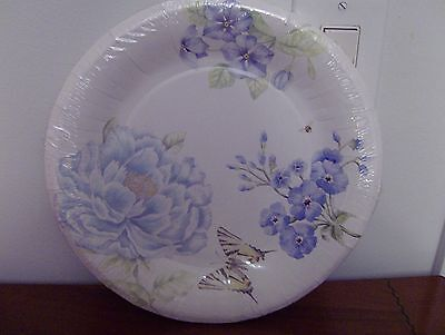 Lenox BUTTERFLY MEADOW BLUE Coated Paper Dinner Plates Set of 16 New
