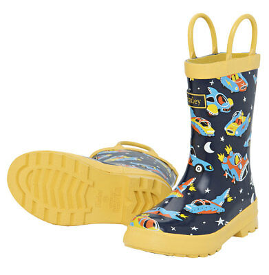 NEW Pull On Kids Rubber Wellies Rain Boots Gumboots Space Cars Of The Future