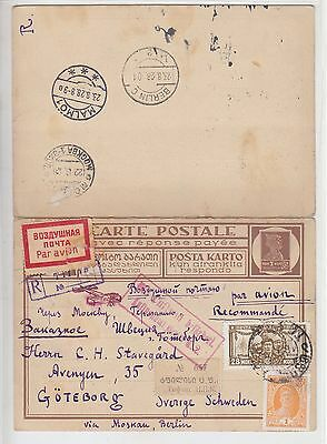 Russia  1928  Double Stat. Card P33  Georgian  Lang  Tiflis - Sweden  Air Mail