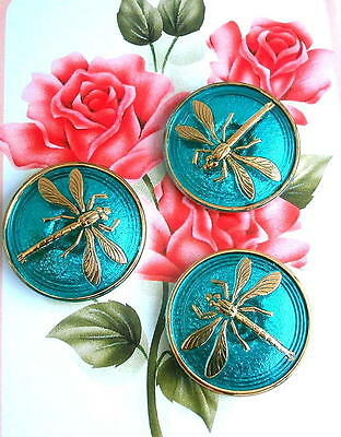 3 UNIQUE Crystal Glass Buttons #G476 - DRAGONFLY - WOW!!!!!!!! - 31 mm or 1-1/4""