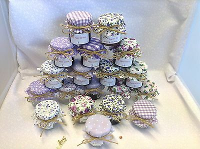 JAM covers FABRIC VINTAGE LOOK wedding mix LILAC will fit 1oz 1.5oz 42g jars x50