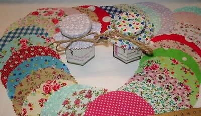 JAM COVERS fabric fits Lid size 54-73mm  mixed designs  FREE bands  X 20 or 30
