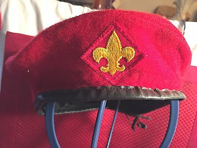 3b08e423ff826 VINTAGE BOY SCOUTS of America Red Wood Beret Hat Size medium ...