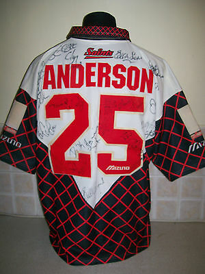VTG st HELENS RUGBY LEAGUE SHIRT JERSEY SIZE 2XL signed ANDERSON PLAYERS SQUAD