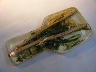 """Vintage Mid Century Bamboo/Leaves in Lucite Spoon Rest 6 1/2"""" long"""
