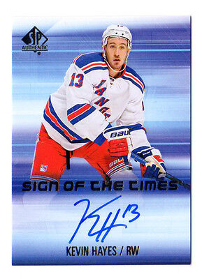 Kevin Hayes Nhl 2015-16 Sp Authentic Sign Of The Times Auto (New York Rangers)
