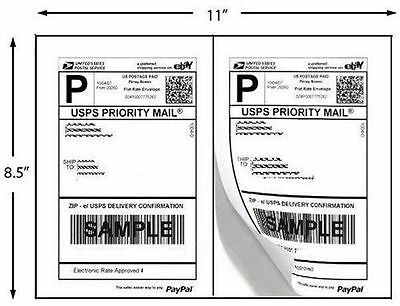 """200 Quality Self Adhesive Shipping Labels 2/Sheet 8.5"""" x 5.5"""""""