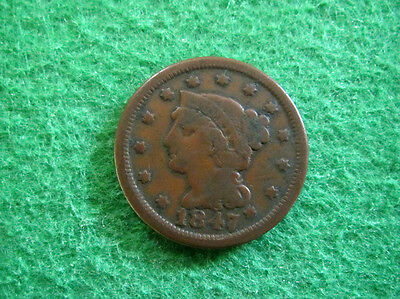 1847 Braided Hair Large Cent - Nice Circulated  - Free U S Shipping