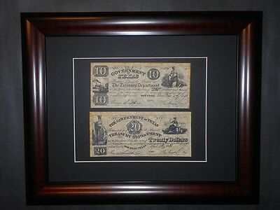 Republic of Texas 1838 $20 $10 Currency Notes Signed Sam Houston Framed Reprint