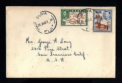 14612-FIJI ISLANDS -OLD COVER SUVA to CALIFORNIA (usa)1940.WWII.BRITISH colonies