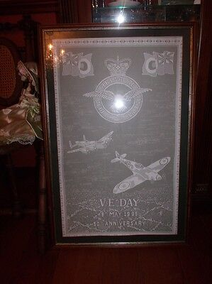 """Rare RAF VICTORY IN EUROPE VE DAY LACE PANEL 50th Anniversary 18"""" x 29"""""""