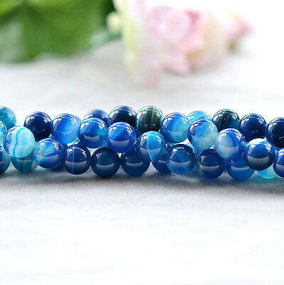 """Natural Agate Round Gemstone Loose Beads Blue With Strips 15"""" 6mm 8mm 10mm 12mm"""