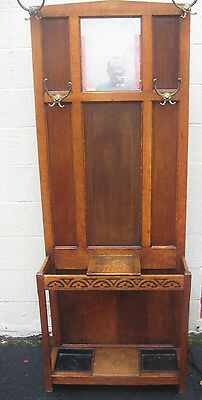 ANTIQUE MISSION CRAFTSMAN STYLE OAK HALL TREE UMBRELLA STAND with GLOVE BOX