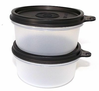 Tupperware 2-pc Bowls Set  8 Ounce Snack Cup Lunch Sides Black Deco