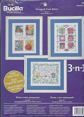Bucilla Special Edition STAMPED Cross Stitch Kit 3-n-1 Nature's Love Value Pack