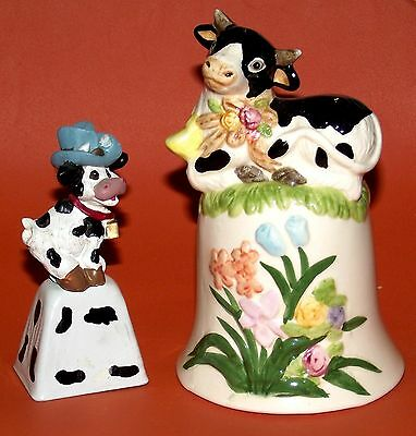 2-Lot of Bells-Large Ceramic Cow w/ Flowers & Small Metal & Resin Cow w/ Hat