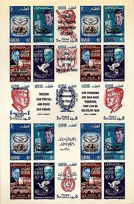 Qatar Scott 101-101H, Overprinted UN  Imperforated Sheet Mint Hinged