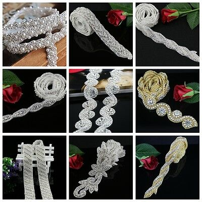 1Yard Bridal Crystal Rhinestone Applique Pearl Beaded Trim DIY Wedding Sash Belt