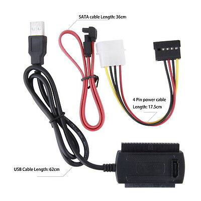 Converter Cable SATA/PATA/IDE to USB 2.0 Adapter for 2.5''/3.5'' Hard Drive AU@