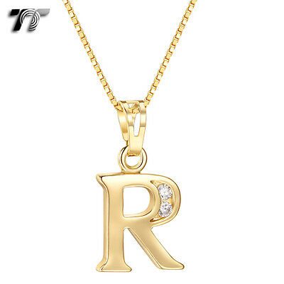 TT 18K Gold GP Letter R Pendant Necklace With Box Chain (NP327R) NEW