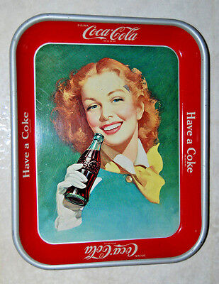 Coke -Vintage 1950's Coca Cola Tray- Girl with the Red Hair Tray Collector Piece