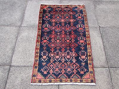 Old Traditional Persian Rug  Oriental Hand Made Wool Blue Red Small Rug 125x71cm