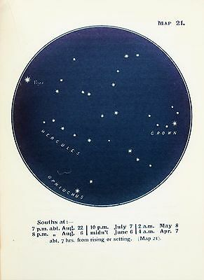 Antique Print Star Chart - Constellations - Celestial - Astrology - Astronomy 21