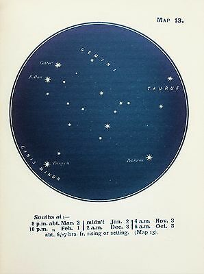 Antique Print Star Chart - Constellations - Celestial - Astrology - Astronomy 13