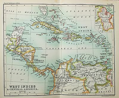 Antique Bartholomew Map - Small Folding Map - West Indies, Central Latin America